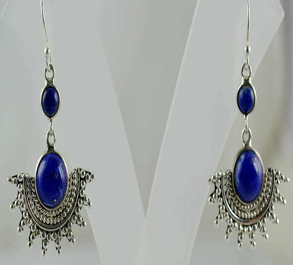 Lapis Lazuli 925 Solid Sterling Silver Dangle Drop Sun Earrings - NavyaCraft
