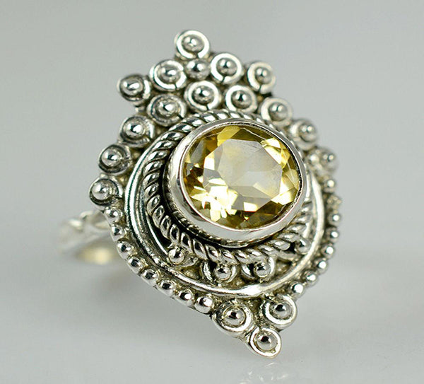 Citrine 925 Solid Sterling Silver Handmade Princess Ring - NavyaCraft