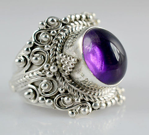 Amethyst 925 Solid Sterling Silver Handmade Family Ring - NavyaCraft