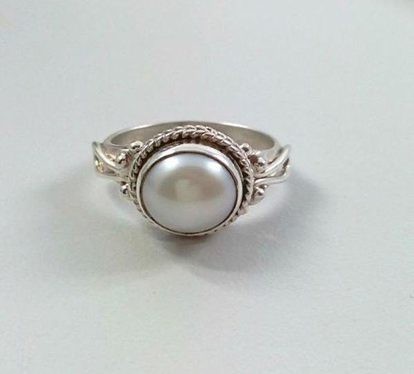 Fresh Water Pearl 925 Solid Sterling Silver Handmade Greek Ring - NavyaCraft