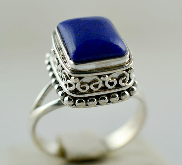 Lapis Lazuli Square Shaped 925 Solid Sterling Silver Noble Ring - NavyaCraft