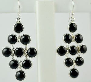 Black Onyx 925 Solid Sterling Silver Handmade Dangle Drop Mesh Earrings - NavyaCraft