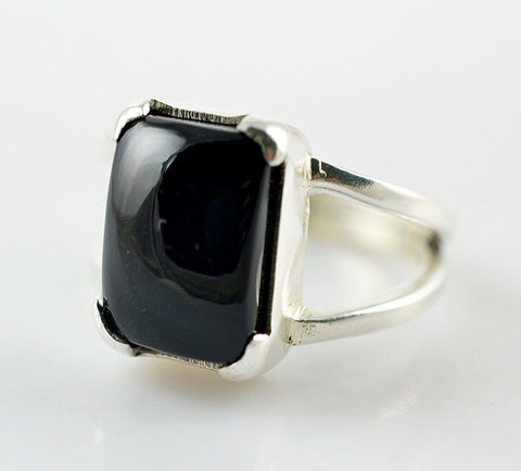 Black Onyx 925 Solid Sterling Silver Handmade Cornered Ring - NavyaCraft