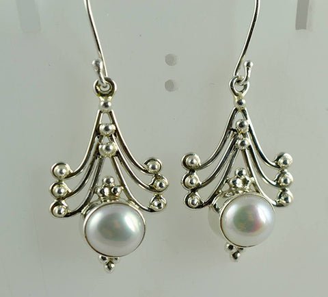 Fresh Water Pearl 925 Solid Sterling Silver Handmade Dangle Sway Earrings - NavyaCraft