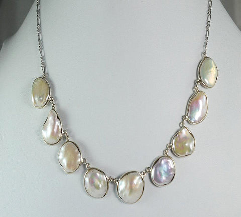 "Fresh Water Coin Pearl Handmade Bezel Necklace with Pure Silver Figaro Chain Length 18"" - NavyaCraft"