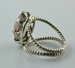 Rose Quartz 925 Solid Sterling Silver Handmade Crown Ring - NavyaCraft