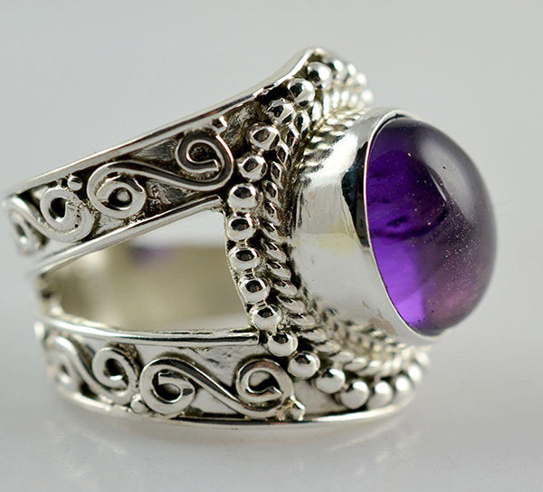 Amethyst 925 Solid Sterling Silver Oval Cab Handmade Classic Ring - NavyaCraft