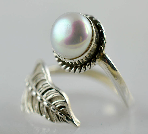 Fresh Water Pearl 925 Solid Sterling Silver Fern Ring - NavyaCraft