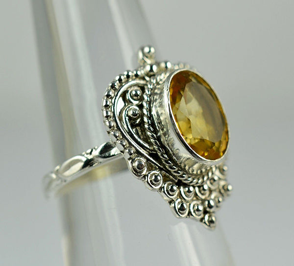 Citrine 925 Solid Sterling Silver Handmade Royal Ring - NavyaCraft