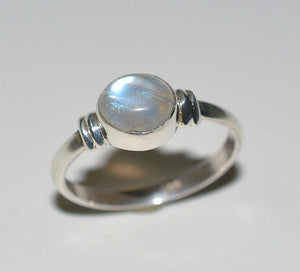 Rainbow Moonstone 925 Solid Sterling Silver Handmade Celestial Ring - NavyaCraft