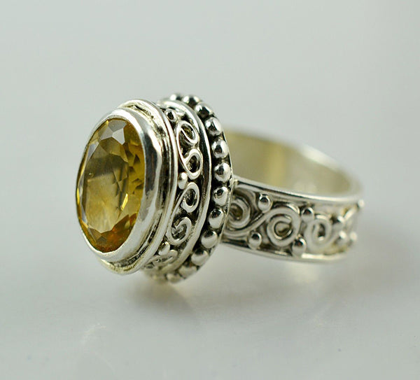 Citrine 925 Solid Sterling Silver Handmade Noble Ring - NavyaCraft