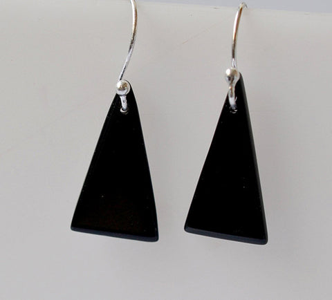 Black Onyx 925 Solid Sterling Silver Handmade Dangle Drop Triangle Earrings - NavyaCraft