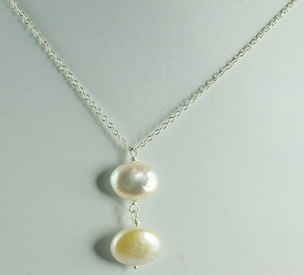 Fresh Water Double Pearl 925 Solid Sterling Silver Handmade Chain Necklace - NavyaCraft