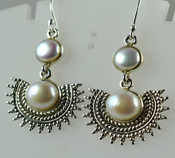 Fresh Water Pearl 925 Solid Sterling Silver Handmade Dangle Sun Earrings - NavyaCraft