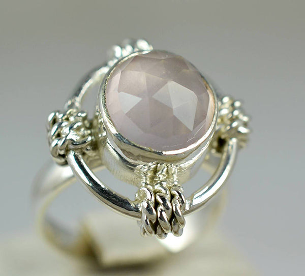 Rose Quartz 925 Solid Sterling Silver Handmade Quarter Ring - NavyaCraft