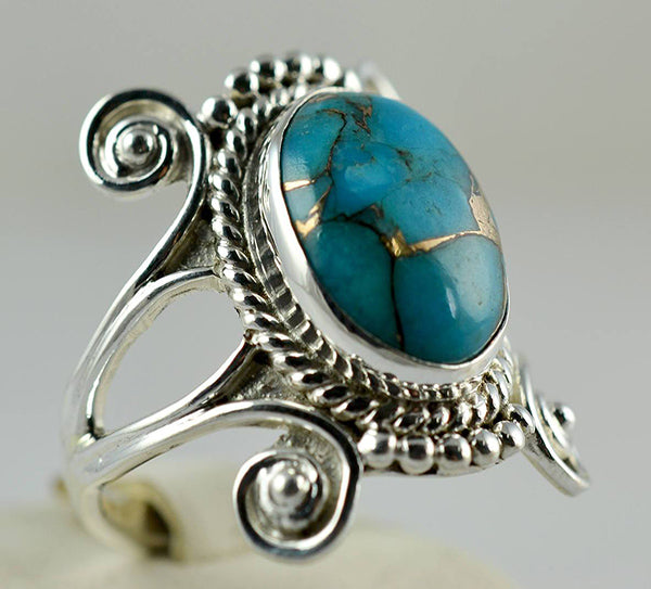 Turquoise Ring 925 Solid Sterling Silver Handmade Modern Ring - NavyaCraft