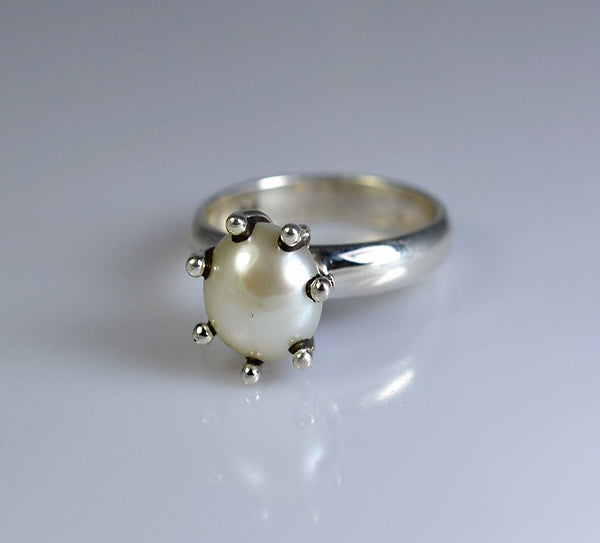 Fresh Water Pearl 925 Solid Sterling Silver Throne Ring - NavyaCraft