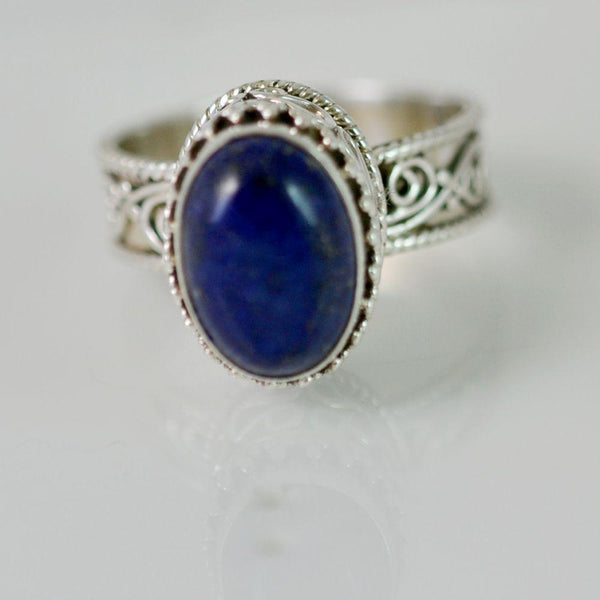 Lapis Lazuli 925 Solid Sterling Silver Handmade Royalty Ring - NavyaCraft