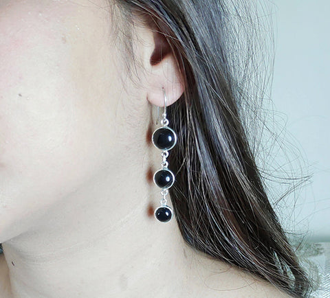 Black Onyx 925 Solid Sterling Silver Handmade Dangle Drop Chain Earrings - NavyaCraft