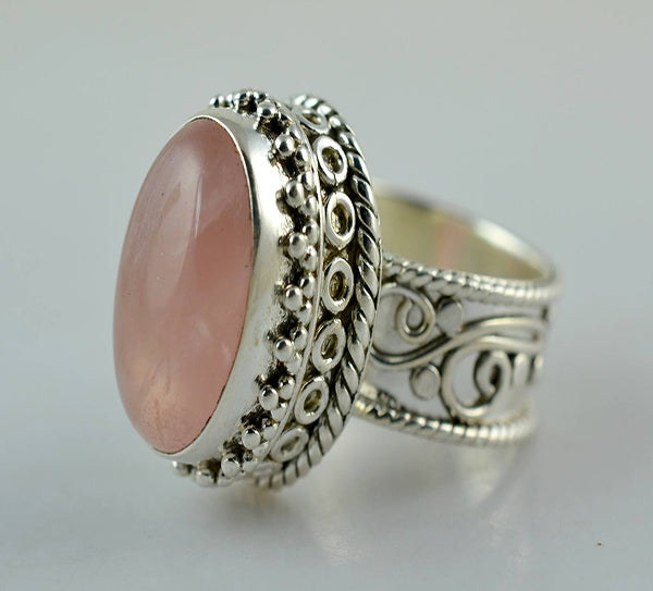Rose Quartz 925 Solid Sterling Silver Handmade queenly Ring - NavyaCraft