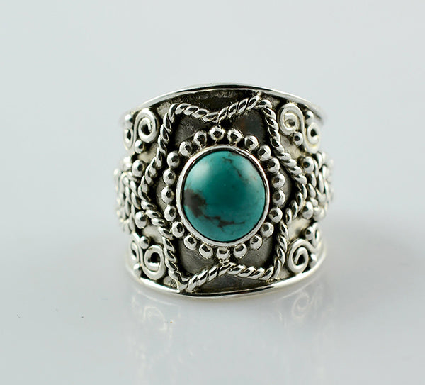 Turquoise Ring 925 Solid Sterling Silver Handmade Star Ring - NavyaCraft