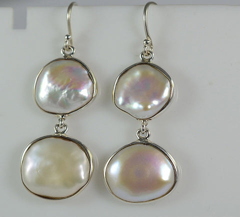 Fresh Water Coin Pearl 925 Solid Sterling Silver Dangle Drop Bezel Earrings - NavyaCraft