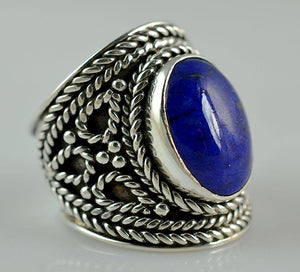 Lapis Lazuli 925 Solid Sterling Silver Handmade Saddle Ring - NavyaCraft