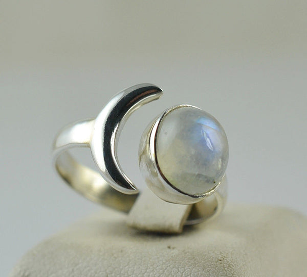 Rainbow Moonstone 925 Solid Sterling Silver Handmade Crescent Ring - NavyaCraft