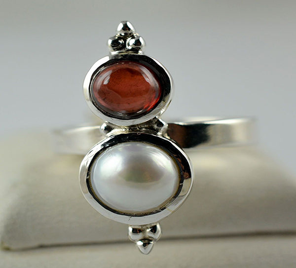 Fresh Water Pearl & Garnet 925 Solid Sterling Silver Dual Stone Ring - NavyaCraft