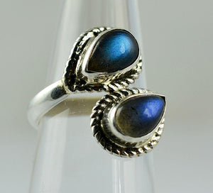 Labradorite 925 Solid Sterling Silver Handmade Double Droplet Ring - NavyaCraft
