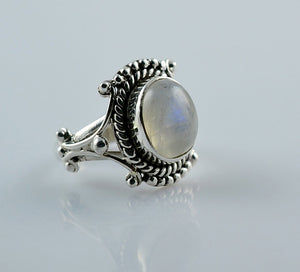 Rainbow Moonstone 925 Solid Sterling Silver Handmade Beauty Ring - NavyaCraft