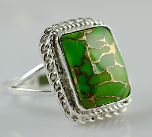Green Copper Turquoise Composite 925 Solid Sterling Silver Handmade Ring - NavyaCraft