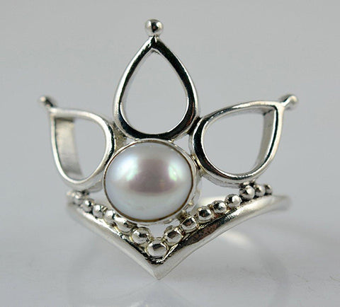 Fresh Water Pearl 925 Solid Sterling Silver Handmade 3-Teardrops Ring - NavyaCraft