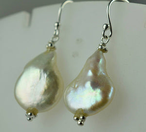 Fresh Water Baroque pearl 925 Solid Sterling Silver Earrings - NavyaCraft