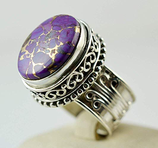 Purple Copper Silver Handmade Queenly Turquoise Ring - NavyaCraft