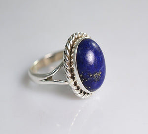 Lapis Lazuli 925 Solid Sterling Silver Handmade Braid Ring - NavyaCraft