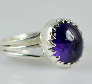 Amethyst 925 Solid Sterling Silver Handmade Clutch Ring - NavyaCraft