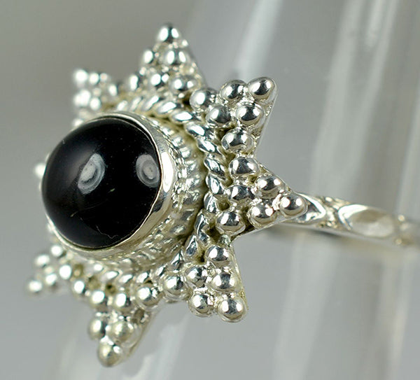 Black Onyx 925 Solid Sterling Silver Star Shaped Ring - NavyaCraft