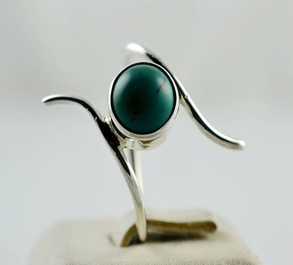 Turquoise 925 Solid Sterling Silver Handmade Curly Ring - NavyaCraft
