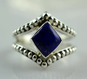 Lapis Lazuli 925 Solid Sterling Silver Handmade Diamond Shaped Ring - NavyaCraft