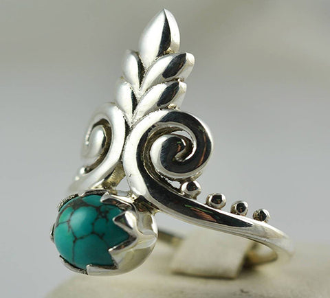 Turquoise Ring 925 Solid Sterling Silver Handmade Tiara-head Ring - NavyaCraft