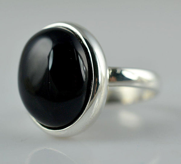 Black Onyx 925 Solid Sterling Silver Handmade Oval Ring - NavyaCraft