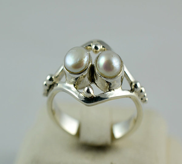 Freshwater Pearl 925 Solid Sterling Silver Believe Ring Handmade Jewelry Size 3-13 US - NavyaCraft