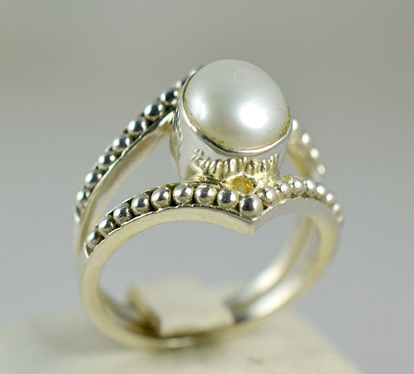 Freshwater Pearl 925 Solid Sterling Silver Crown Ring Handmade Jewelry Size 3-13 US - NavyaCraft