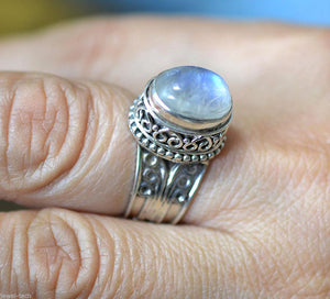 Rainbow Moonstone 925 Solid Sterling Silver Handmade Virtue Ring - NavyaCraft