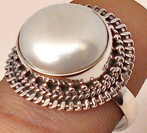 Fresh Water Pearl 925 Solid Sterling Silver Handmade Twilight Ring - NavyaCraft