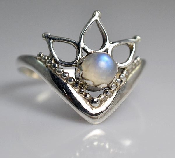 Rainbow Moonstone 925 Solid Sterling Silver Handmade 3-Teardrops Ring - NavyaCraft