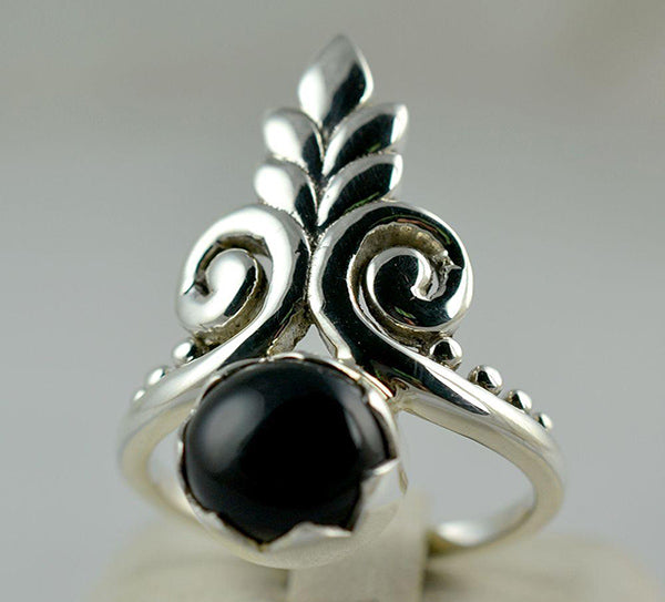 Black Onyx 925 Solid Sterling Silver Handmade Tiara-head Ring - NavyaCraft
