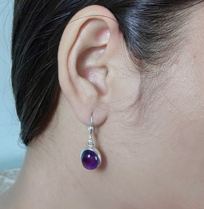 Amethyst 925 Solid Sterling Silver Handmade Antique Dangle Earrings
