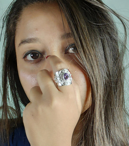 Amethyst 925 Solid Sterling Silver Handmade Crafted Ring